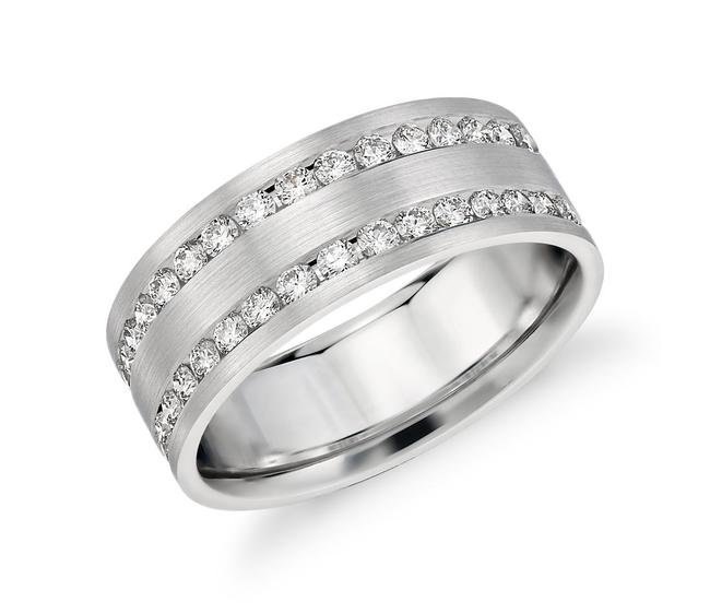 Item - 14k White Gold 1.00ct Double Inlay Ring In Men's Wedding Band
