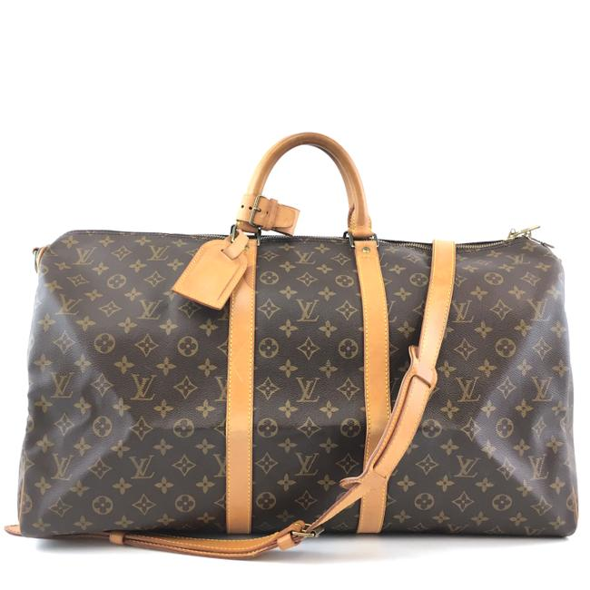 Item - Keepall #42086 with Strap 55 Bandouliere Gym Tote Brown Monogram Canvas Weekend/Travel Bag