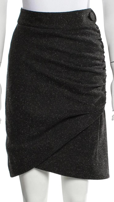 Item - Gray Textured Ruched Wool Skirt Size 0 (XS, 25)