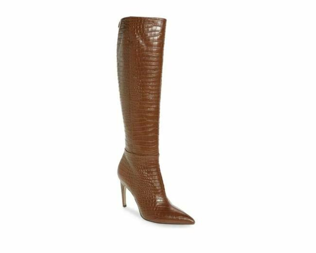 Item - Brown Croc Embossed Tall Leather Boots/Booties Size US 6 Regular (M, B)
