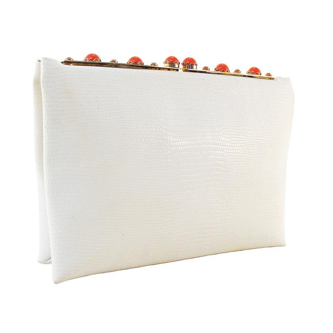 Item - Coral Cabochon Kisslock Evening We Ivory Coated Leather Clutch