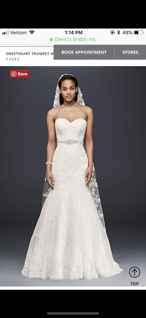 Item - White Lace Sweetheart Trumpet V3680 Traditional Wedding Dress Size 2 (XS)
