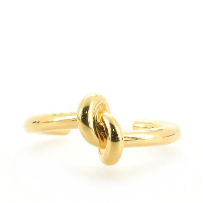Item - Gold Thick Knot Cuff Metal Bracelet