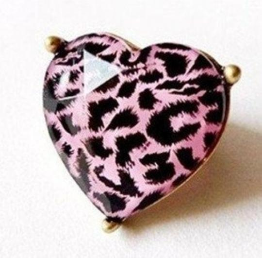 All Around Fem Pink Leopard Heart Ring Sz 7/8 Clear Gem Overlay