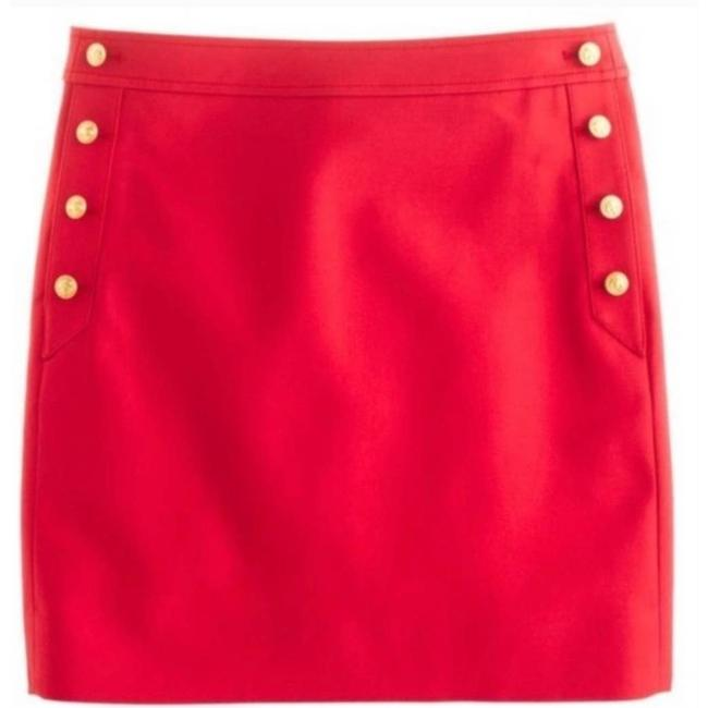 Item - Red XS Sailor Postage Stamp Gold Anchor Nautical Skirt Size 2 (XS, 26)