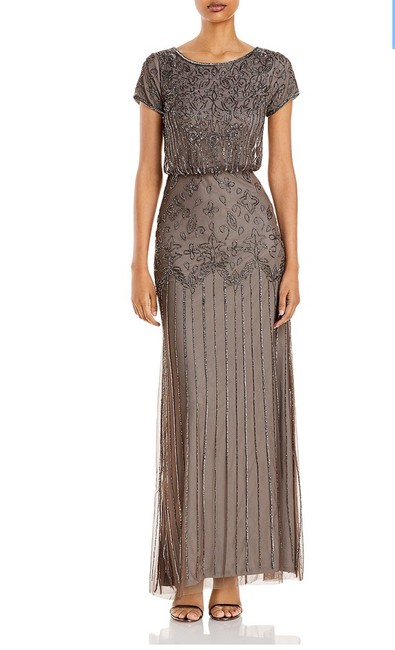Item - Short Sleeved Beaded Gown Long Formal Dress Size Petite 6 (S)