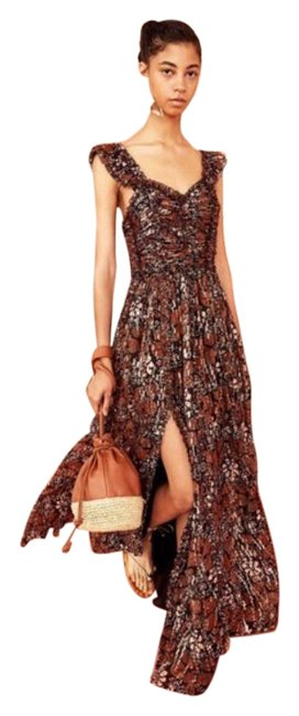 Item - Brown Cream Evianna Silk Gown In Umber Long Cocktail Dress Size 2 (XS)