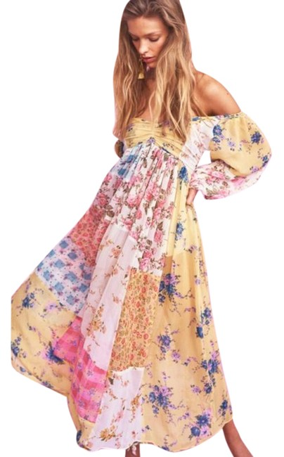 Item - Pink Gold Roslyn Midi Picnic Patchwork Long Casual Maxi Dress Size 2 (XS)