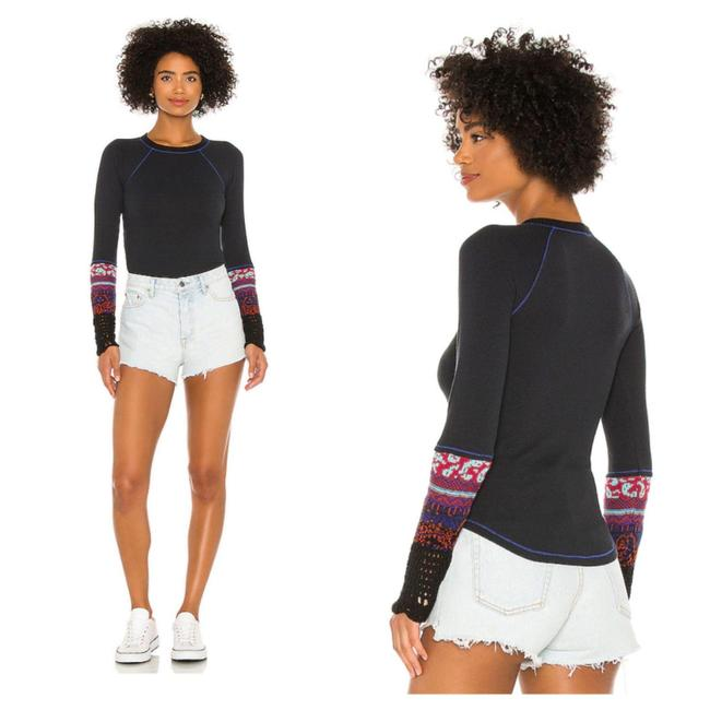 Item - In The Mix Cuff In Combo Black Sweater