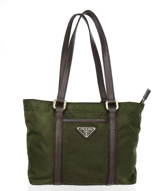 Item - Tote Green and Brown Tessuto Nylon Leather Shoulder Bag