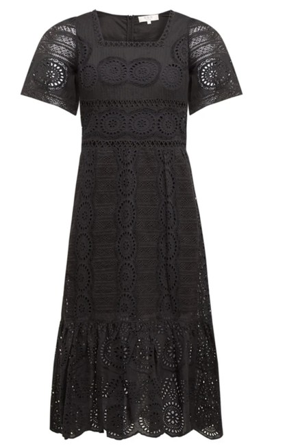 Item - Black Zinna Broderie-anglaise Cotton Mid-length Short Casual Dress Size 8 (M)