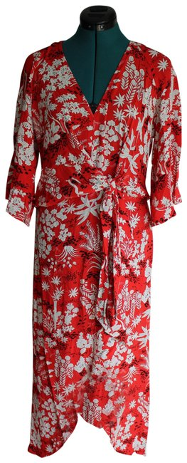 Item - Red Oriental Fern Front Knot Mid-length Casual Maxi Dress Size 6 (S)