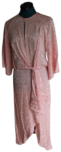 Item - Pink Floral Jacquard Front Knot Mid-length Short Casual Dress Size 4 (S)