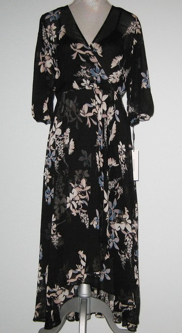 Item - Black Multi Floral Chiffon V-neck Faux Wrap Ruffle Long Casual Maxi Dress Size 14 (L)