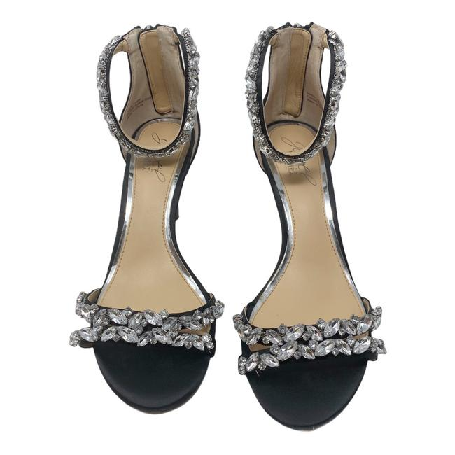 Item - Black Jewels Satin Ankle Strap Heels Formal Shoes Size US 7 Regular (M, B)