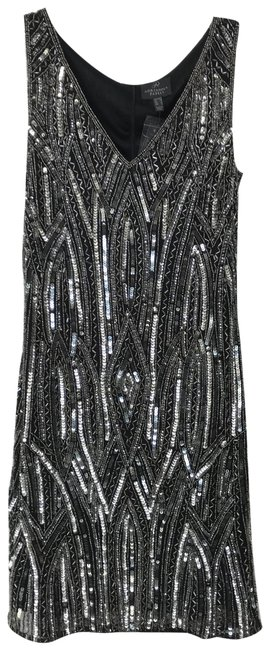 Item - Gray Silver Beaded Sequin Patterned Short Cocktail Dress Size 2 (XS)