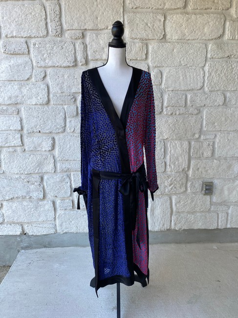 Item - Black & Red Kimono Burnout Velvet / Large Long Cocktail Dress Size 12 (L)