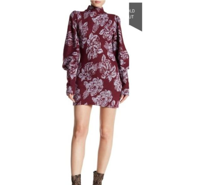 Item - Floral Turtleneck Up Puffed Sleeves Bishop Sleeves Sweater Wool Blend Short Cocktail Dress Size 0 (XS)