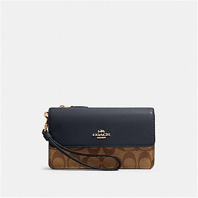 Item - 78229 Foldover Wristlet In Signature In Khaki/Midnight Khaki/Midnight Canvas Clutch