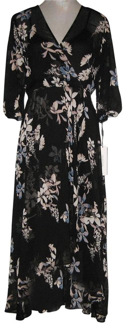 Item - Black Multi Floral Chiffon V-neck Ruffle Long Casual Maxi Dress Size 10 (M)