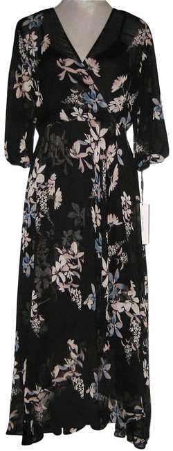 Item - Black Multi Floral Chiffon V-neck Ruffle Long Casual Maxi Dress Size 8 (M)