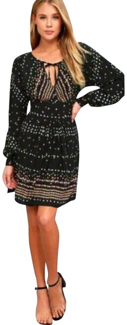 Item - Black Dot Pink Yellow Coryn Skater Long Sleeve Fit & Flare Open Cut Out Short Cocktail Dress Size 0 (XS)