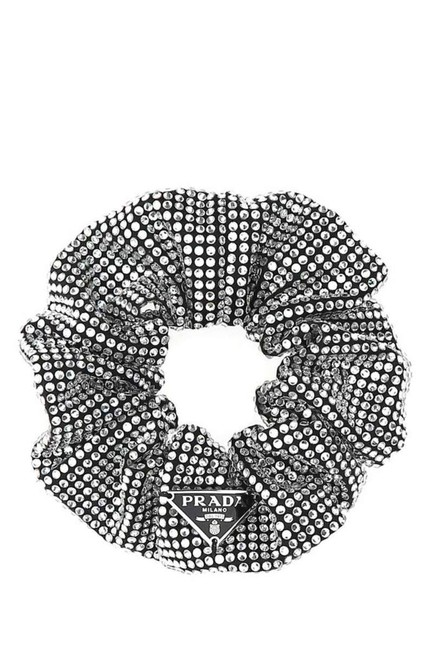 Item - Black Rhinestone Embellished Scrunchie Hair Accessory