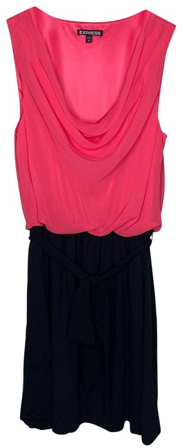 Item - Pink Pink/Black Color Block Tie | M Night Out Dress Size 8 (M)