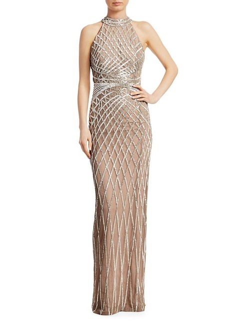 Item - Beaded Tulle Halter Gown Long Casual Maxi Dress Size 10 (M)