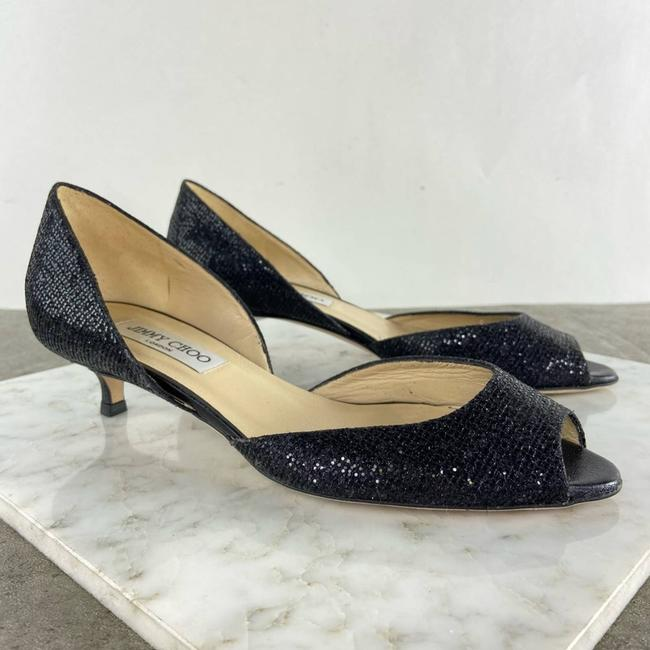 Item - Black Sparkly Glitter Kitten Heels Pumps Size EU 38 (Approx. US 8) Regular (M, B)