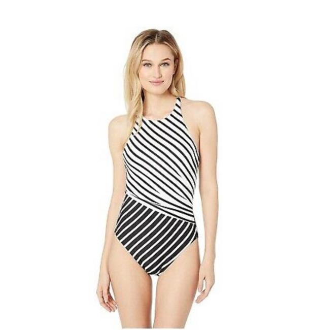 Item - Black White Striped High Neck One-piece Bathing Suit Size 6 (S)