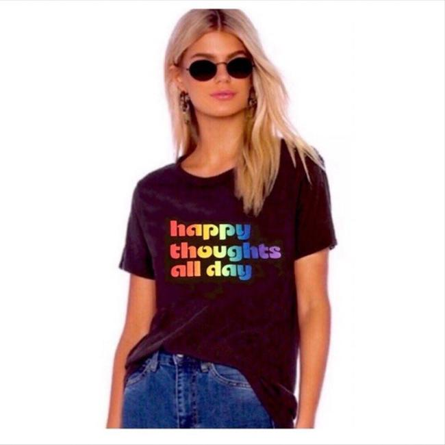 Item - Black Happy Thoughts All Day Small Tee Shirt Size 4 (S)