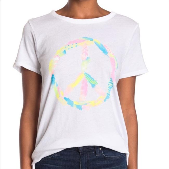 Item - White Peace Sign Graphic Tee Shirt Size 0 (XS)