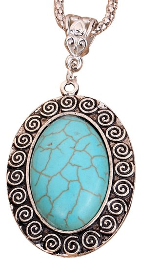 Preload https://img-static.tradesy.com/item/2911594/turquoise-oval-tibetan-silver-pendant-carve-symbol-pendant-chain-necklace-0-0-540-540.jpg