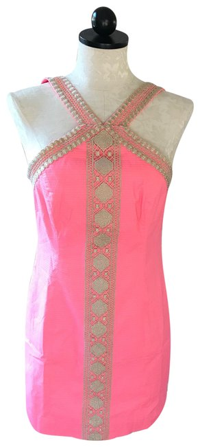Item - Pink/Peach Shift Mid-length Short Casual Dress Size 6 (S)