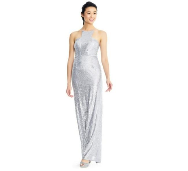 Item - Silver Halter Neckline Spaghetti Straps Fitted Bodice Backless Deep Back Long Formal Dress Size 2 (XS)