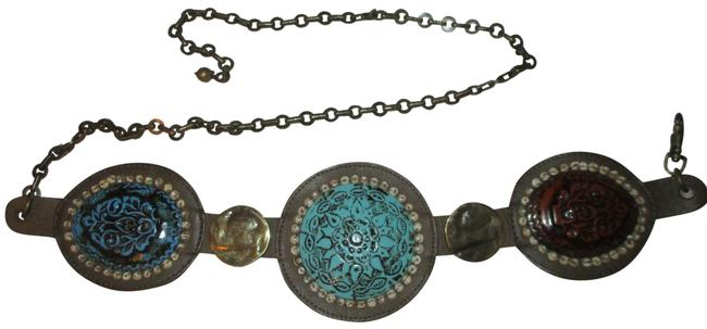 Item - Brown Multi Wide Medallion Leather and Chain Belt
