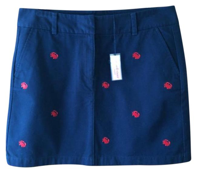 Item - Blue Red Navy Mini Embroidered Crabs Skirt Size 12 (L, 32, 33)