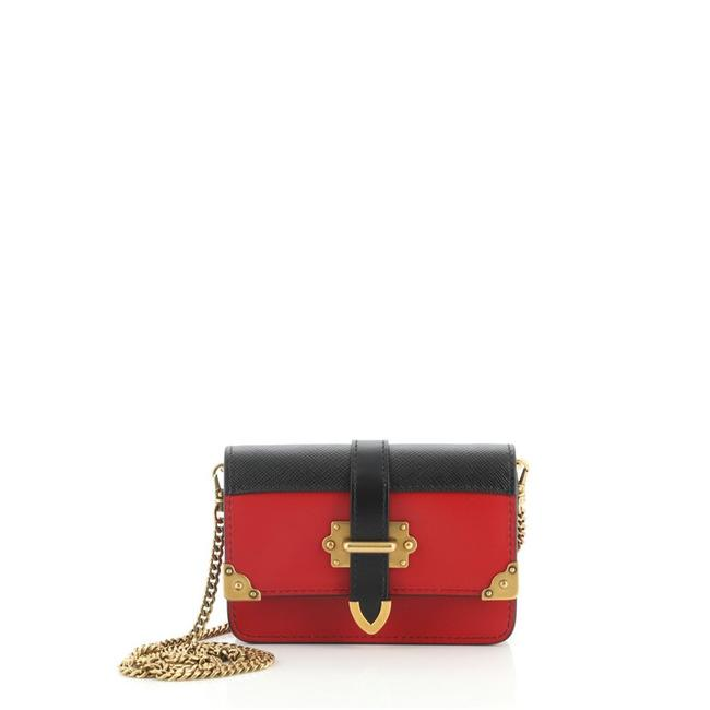 Item - Cahier Chain City Calf and Saffiano Micro Black Red Leather Cross Body Bag