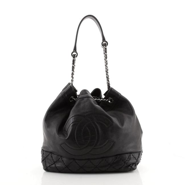 Chanel Bucket Bag Drawstring Vintage Expandable Cc Quilted Small Black Leather Tote Chanel Bucket Bag Drawstring Vintage Expandable Cc Quilted Small Black Leather Tote Image 1
