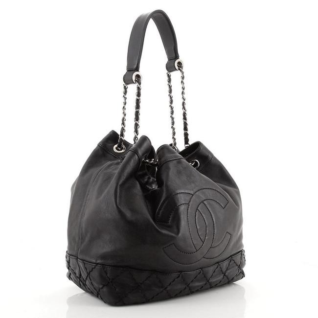 Chanel Bucket Bag Drawstring Vintage Expandable Cc Quilted Small Black Leather Tote Chanel Bucket Bag Drawstring Vintage Expandable Cc Quilted Small Black Leather Tote Image 3