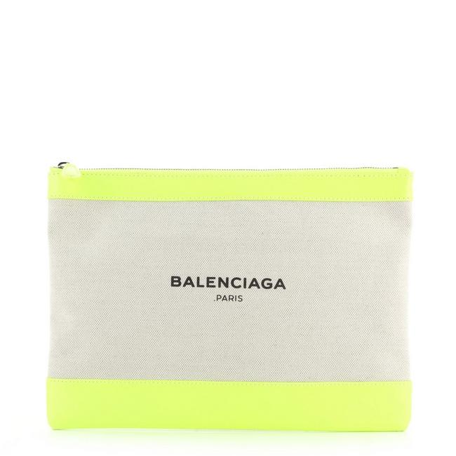 Item - Navy Zip Pouch and Large Green Neutral Canvas Interior Leather Clutch