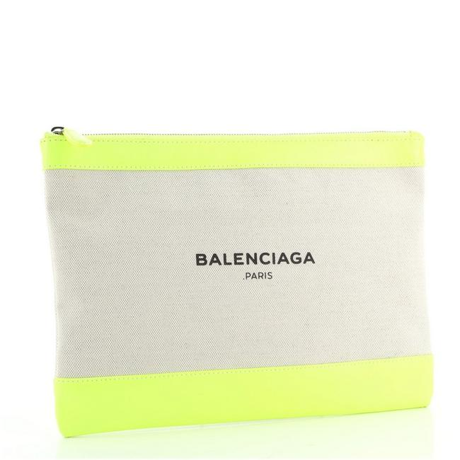 Balenciaga Navy Zip Pouch and Large Green Neutral Canvas Interior Leather Clutch Balenciaga Navy Zip Pouch and Large Green Neutral Canvas Interior Leather Clutch Image 2