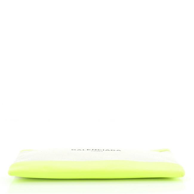 Balenciaga Navy Zip Pouch and Large Green Neutral Canvas Interior Leather Clutch Balenciaga Navy Zip Pouch and Large Green Neutral Canvas Interior Leather Clutch Image 4
