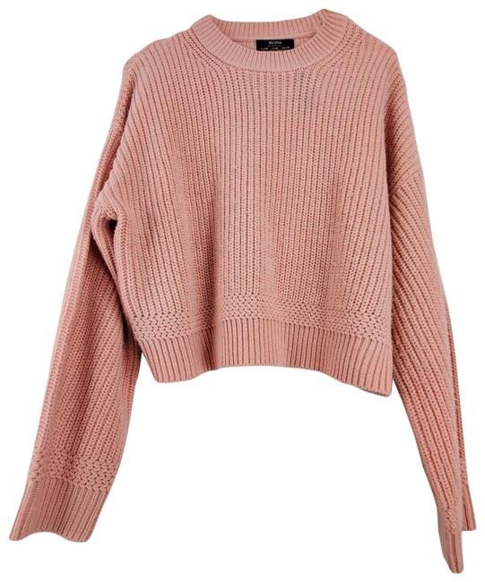 Item - Slouchy Crew Neck Long Sleeve Pink Sweater