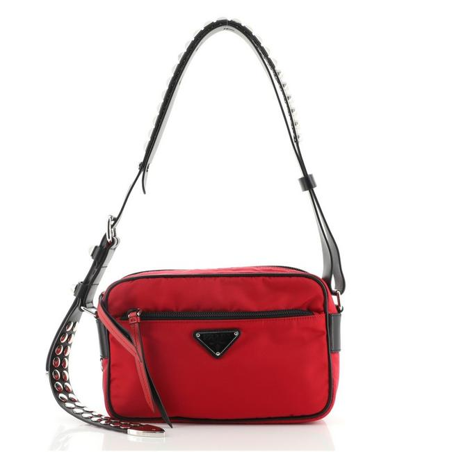 Item - New Vela Tessuto with Studded Leather Small Red Nylon Shoulder Bag