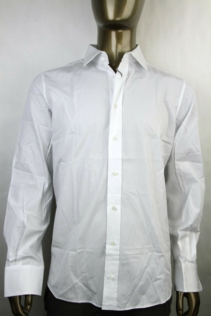 Item - White Men's Fitted Cotton Button-down Dress 37/14.5 235773 9000 Shirt