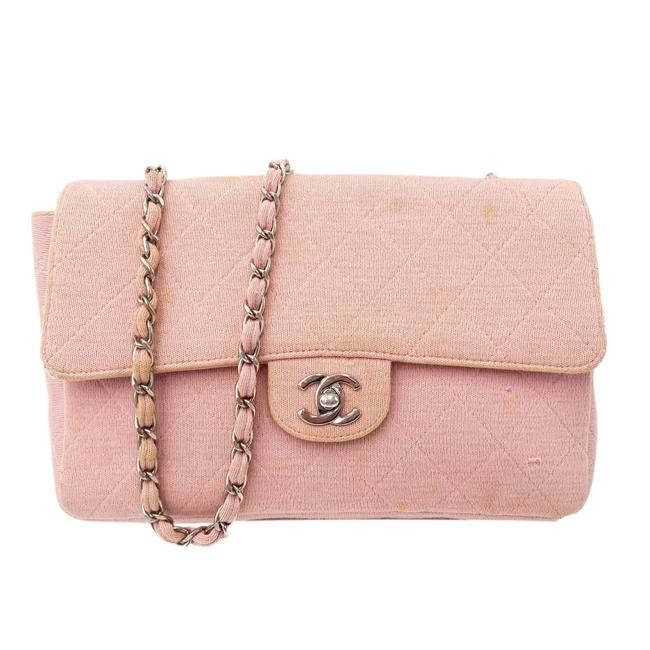 Item - Jersey Classic Medium Quilted Single Flap Pink Cotton Cross Body Bag