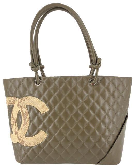 Item - Cambon Quilted Snakeskin Cc #34733 Green Leather Tote
