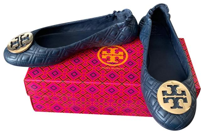 Item - Navy/Gold 9.5m Minnie Quilted Leather Travel Ballet Flats Size US 9.5 Regular (M, B)